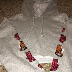 Cropped Hoodie With Design Patches